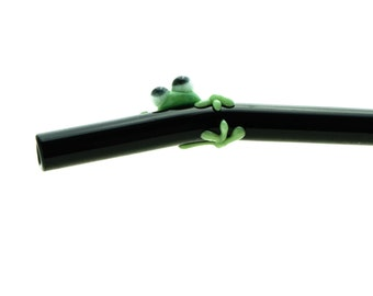 Sage and Dark Green Frog on a Black 6 inch Bent Glass Straw