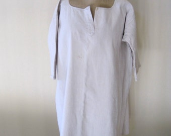 Antique French Pure Rustic Linen Chemise 19th Century French Smock