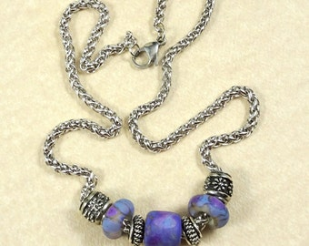 Purple and Silver Necklace - Purple Lampwork Beads on Thick Silver Rope Style Chain - One of a Kind, Artisan Lampwork Bead Necklace