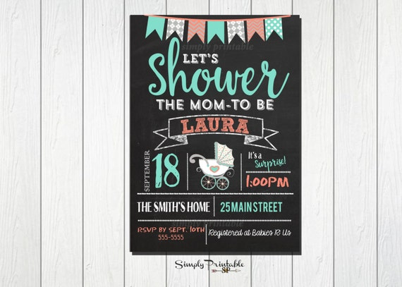 Chalkboard Baby Shower Invitation, Shower Invite,  Baby Shower Invite with Stroller, Mint Green Coral