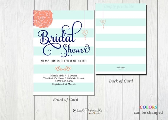 Aqua Coral Bridal Shower Invitation, Striped Bridal Shower Invite, Modern Bridal Shower Invitation Wedding Shower Invite