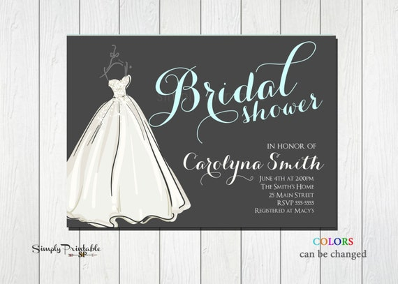 Modern Bridal Shower Invite, Wedding Dress Invitation, Bride Invitation, Wedding Shower, Grey Aqua Invitation, Carolyna