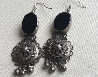 Taxco Sterling silver and onyx earrings.  VJSE