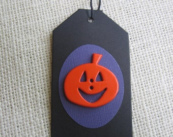 Halloween Pumpkin Gift Tags, Halloween Gift Tags, Orange Black, Set of 5, Favor Sack Tags, Treat Sack Tags, Halloween Party SnowNoseCrafts