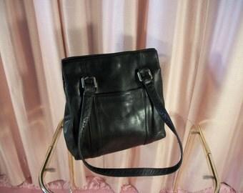 Classic Black Leather Square Purse Handbag, 90s