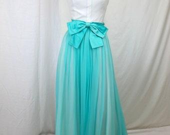 1960s White and Aqua Party Dress