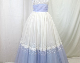 1950s White and Purple Prom Dress