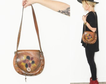 Vintage 60s Hand Tooled Leather BOHO, Hippie Bag