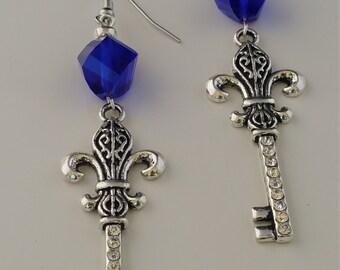Blue Crystal Skelton Key  earrings