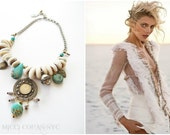 Sale / Cowrie Shell and Kuchi Turquoise Charm Boho Choker Necklace ~ Free Shipping U.S.