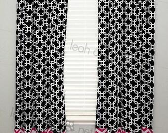 Curtain Panel with Banding - Hot Pink Damask, Black Polka Dot - Olivia8 - C2