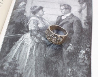 Vintage Sterling Ring, Marcasite Jewelry, Cocktail Ring, Silver Filigree Band, Crystal Rhinestones