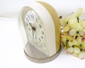 1970s General Electric Clock, Dome Lighted Dial Bedside Clock,  Retro Alarm Clock, Mustard Yellow Decor