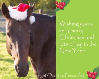 Horse Christmas Card Photo Card Equine Photograpy Horse in Santa Hat