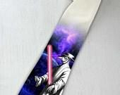 Vintage Star Wars necktie. Lightsaber necktie. Crazy necktie. Big Bang necktie. Scifi nerd movie nectie. Movie tie. Alternative  tie.