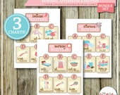 BUNDLE | Printable Routine Charts | Morning, Afternoon and Bedtime Routine Charts | Pink Theme | 3 Charts | Instant Download | Routine Chart