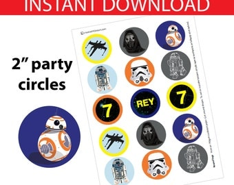 Star Wars Toppers DIY Printable  - INSTANT DOWNLOAD - Retro Star Wars Inspired