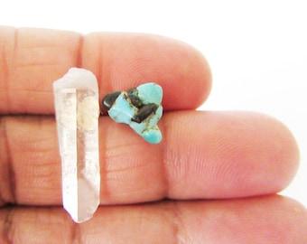 Boho Jewelry// Raw Crystal Quartz and Turquoise Gemstones //Designer Jewelry Summer Wear