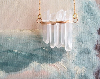 Raw Crystal Quartz Necklace -  Long Layering Necklace For The Bohemian Soul