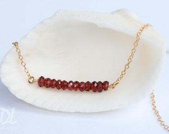 Garnet Necklace - January Birthstone Gemstone Bar Necklaces -  Layered Necklace - Delicate Necklace - Minimal Gemstone Necklace