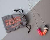 Neon Polymer and Wooden Necklace on Silver Plate Chain (12)