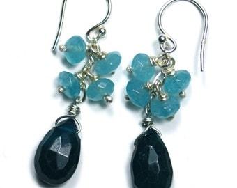 Chrysocola and Iolite Cluster Earrings