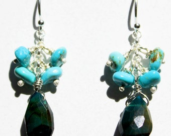 Chrysocola and Turquoise Cluster Earrings