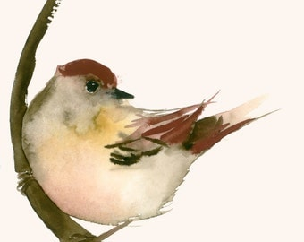 Original Watercolor Painting Red Brown Bird