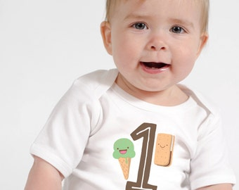 1st Birthday Shirt or Infant One piece - I Scream for Ice Cream Birthday Party - Personalized Birthday Shirts - Summer Ice Cream Tee Shirts