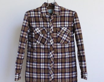 Vintage Plaid Shirt // Quilted Flannel Mens Medium // Insulated Camp Shirt Jacket Plaid Outdoor Exchange
