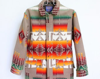 Vintage Pendleton Southwestern Blanket Coat // Chief Joseph Wool Navajo Print Jacket Mens Medium