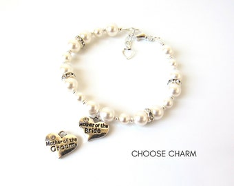 Mother of the Bride Gift Bracelet, Mother of the Groom Gift Bracelet, Pearl Bracelet, Charm Bracelet, Mothers Gift, Mother In Law Gift
