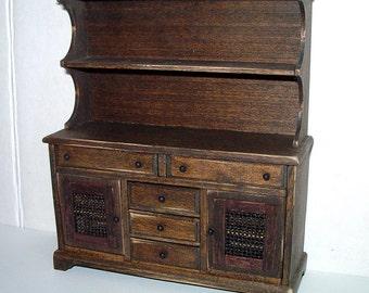 Welsh Dresser, Rustic Hutch, Dollhouse Miniature 1/12 Scale, Hand Made