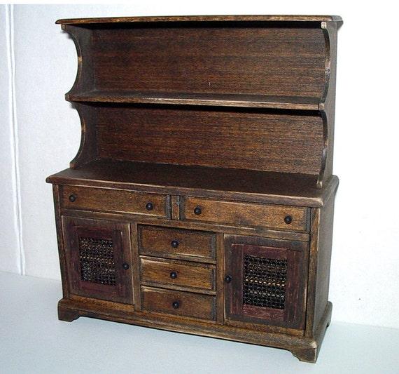 Welsh Dresser Rustic Hutch Dollhouse Miniature 1/12 Scale