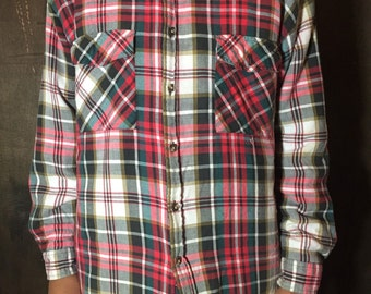 Plaid button down flannel shirt jacket with nylon lining