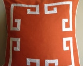 Greek Key Aegean Fretwork Burnt Orange and White- Pillow Cover- Made To Order