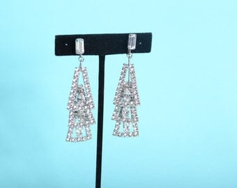 Vintage 1960s Pendulum Chandelier Earrings - Rhinestone Triangles - Bridal Fashions