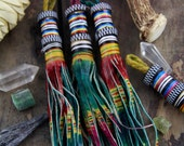 Ombre Multi-Colored African Tuareg Goat Leather Tassel / Boho Jewelry Making Supply, Leather Keychain, Purse Charm, Gift For Her / 1 Tassel