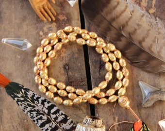 Ethiopian Brass and Copper Hollow Bead Mala, 9x12mm, Authentic Handmade African Tribal Jewelry Mala Making, Craft Supplies, Golden Beads