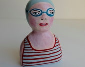 Original clay sculpture SWIMMER 54 // art doll figurine - light blue striped bathing suit // light blue swim cap - goggles // original art