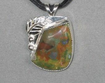 Rainforest Jasper Sterling Silver Pendant