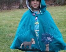 Wool Gnome Cape / Custom Car Seat  poncho Coat / Winter Warm Children's Jacket Cloak