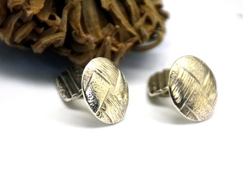 Sterling silver cufflinks woven textured, oxidize cuff links for men, engraved cufflinks , best man accessories,  jewelry for men
