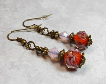 Flower Drop Earrings Pink and Orange Antiqued Gold Plated Dangle Rose Floral Made with Faceted Glass and Swarovski Crystals Summer Jewelry