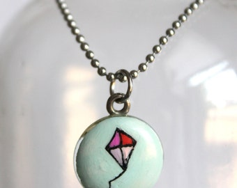 Hand Painted Mini Kite Charm Necklace