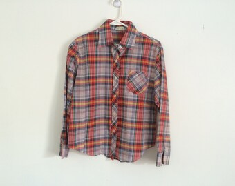 1970s country western plaid blouse , womens hipster plaid shirt, small