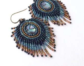 Peacock feather bead embroidery earrings with paua abalone shell cabochons in navy blue green and copper, gift for her, peacock earrings