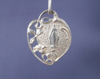 """Vintage Art Nouveau Virgin Mary Silver Religious Medal Pendant on 18"""" sterling silver rolo chain"""