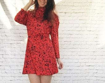 Vintage 80s Red Black Animal Print Mini Dress L XL High Collar Abstract