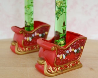 Vintage Candle Stick Holder Sleighs by Napcoware